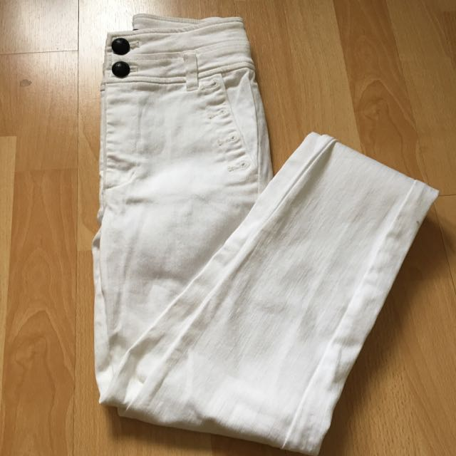 Bardot Denim High Waisted White Jeans Size 6