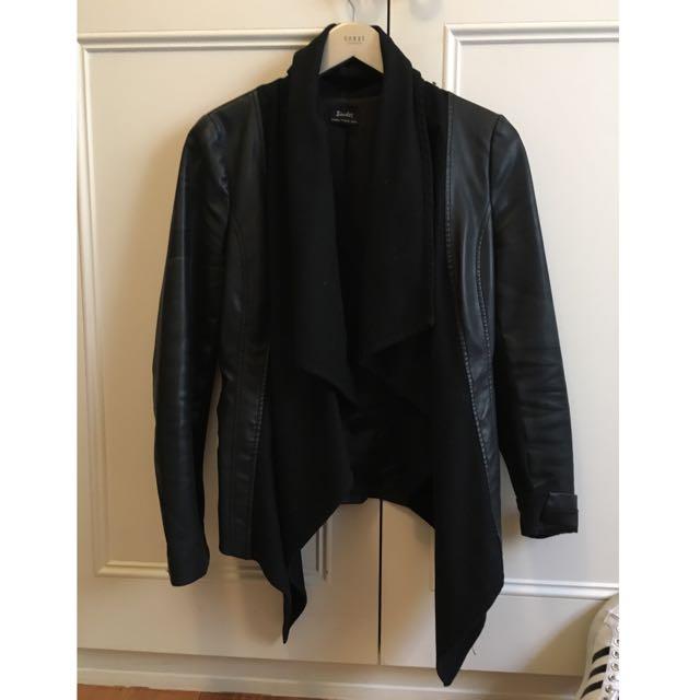 Bardot Textured Leather Waterfall Jacket