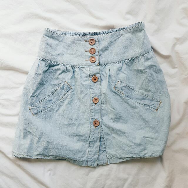 Blue High Waisted Skirt (8)