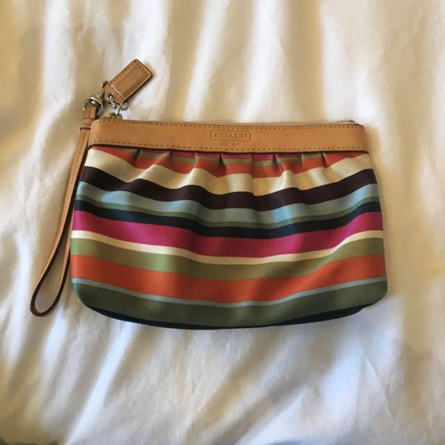 REDUCED Coach Silk Striped Wristlet
