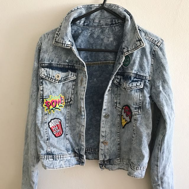 Denim Patch Cropped Jacket