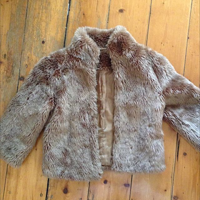 Faux Fur Brown Crop Jacket