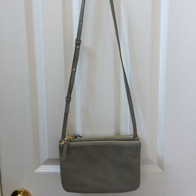 Faux Leather Grey Triple Flap Cross Body Bag
