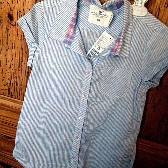 H&M Blue&White Cotton Shirt 7-8 Y