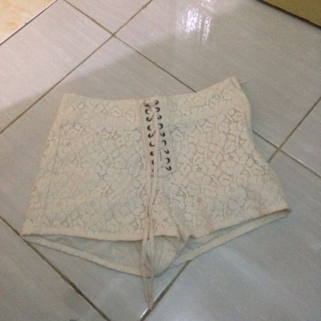 H&M Divided Lace Hotpant White