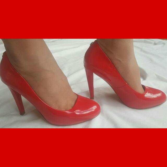 Karen Millen Red Patent Leather Pumps Heels Size 37