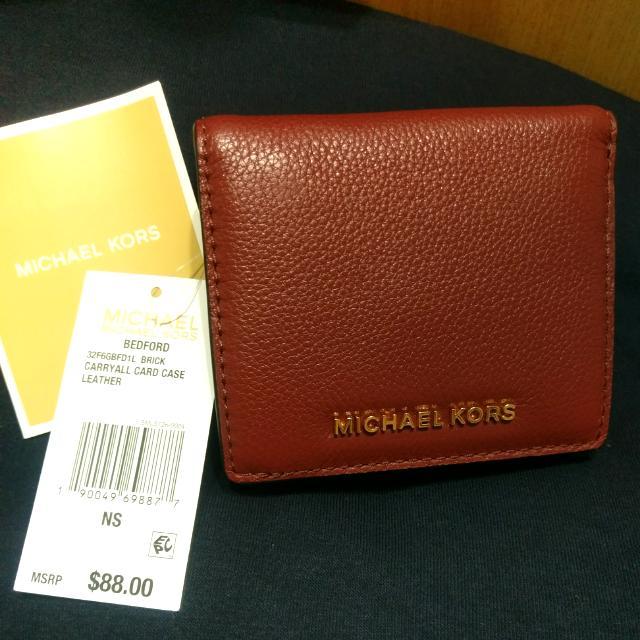 Michael Kors MK真皮 兩折式 短夾 皮夾 磚紅色