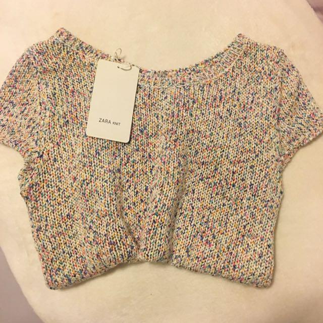 Multicoloured Zara Knit Open Back Top