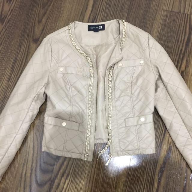 Nude/brown Jacket With Gold Chain Detail