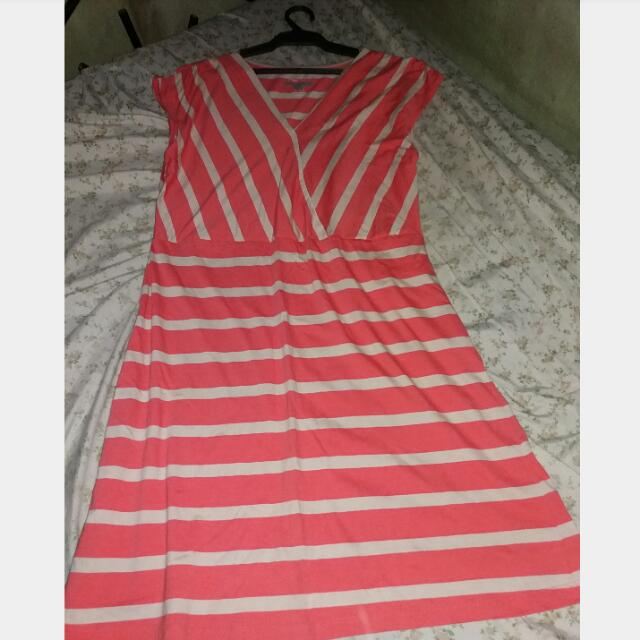 (NEW) Overrun Orange Stripes Dress