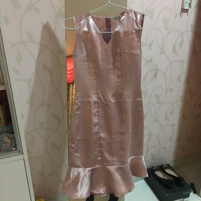Pink Silk Dress Fit To Size Small