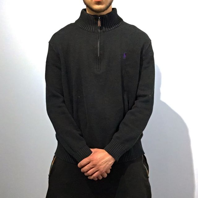 Polo Ralph Lauren Black Half Zipup Sweater