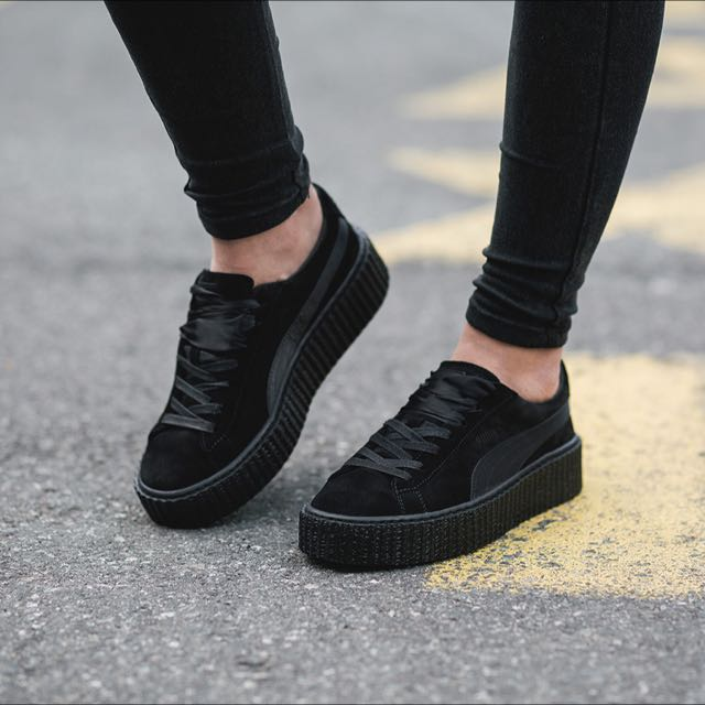 black puma creepers suede