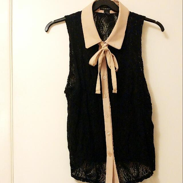 Really Cute Black Lace Sleeveless Top