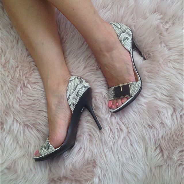 s36 Snakeskin Peeptoe Heels