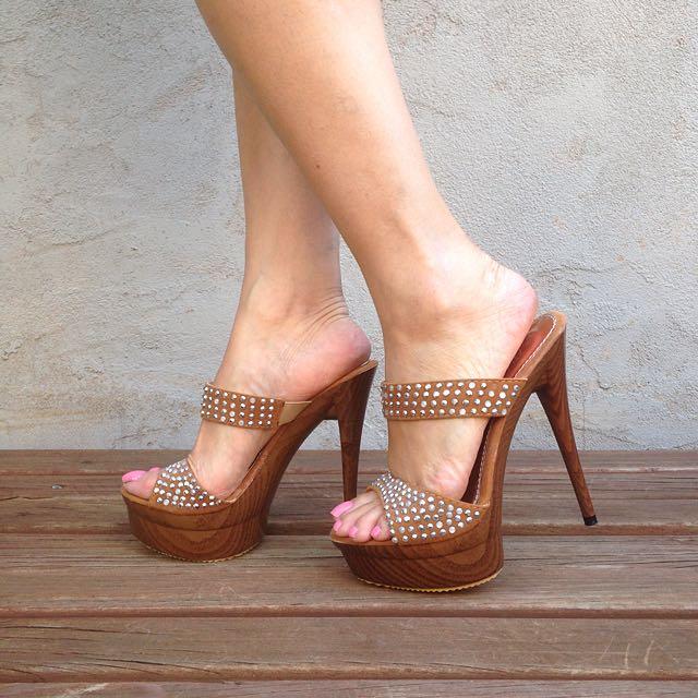 s36 Tan Stiletto Platform Pumps Heels