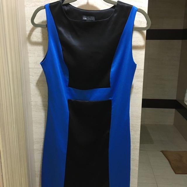 Satin Colorblock Dress