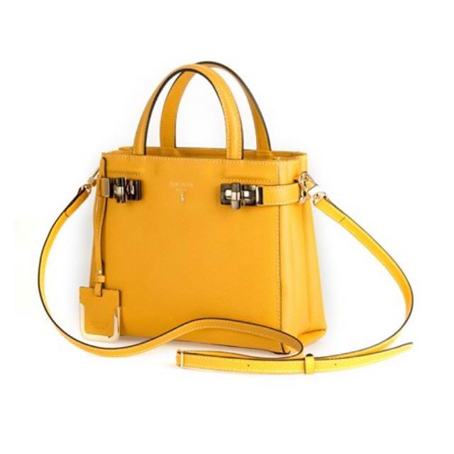 原廠正品-全新Serapian手提肩背兩用包 黃色款 義大利名牌包 (附保證卡、防塵布袋) #我有正品名牌包要賣