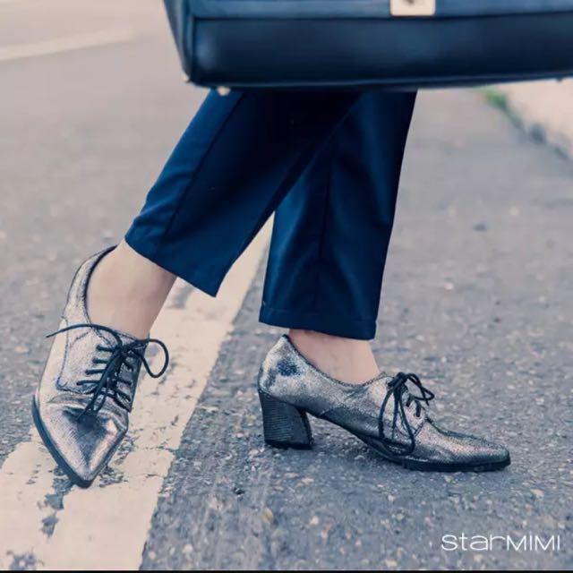 腦公的逆媳~starmimi 真皮摩登中跟尖頭鞋