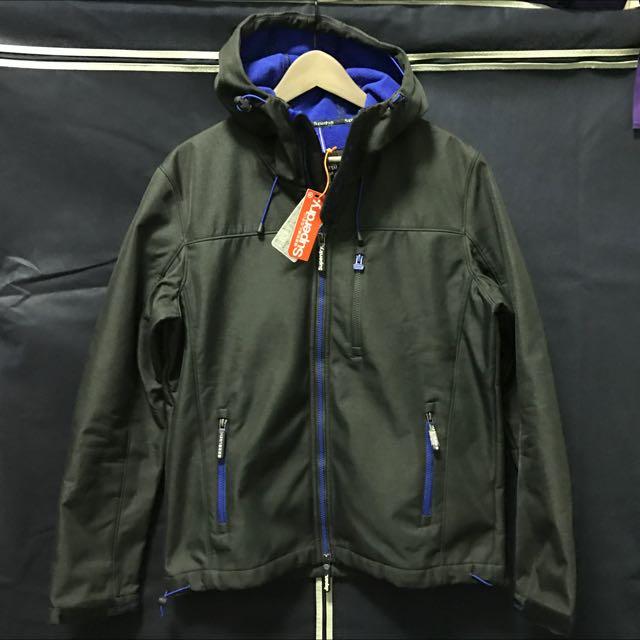 Superdry 鐵灰/藍 潛水布防風外套(L)