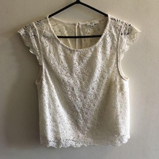 Talula White Lace Top Size Medium