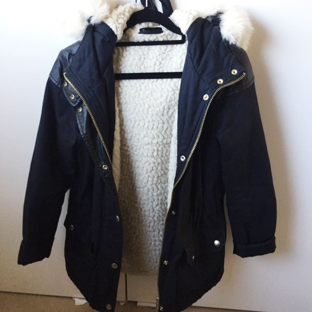 Topshop Faux Fur Lined Parke Jacket