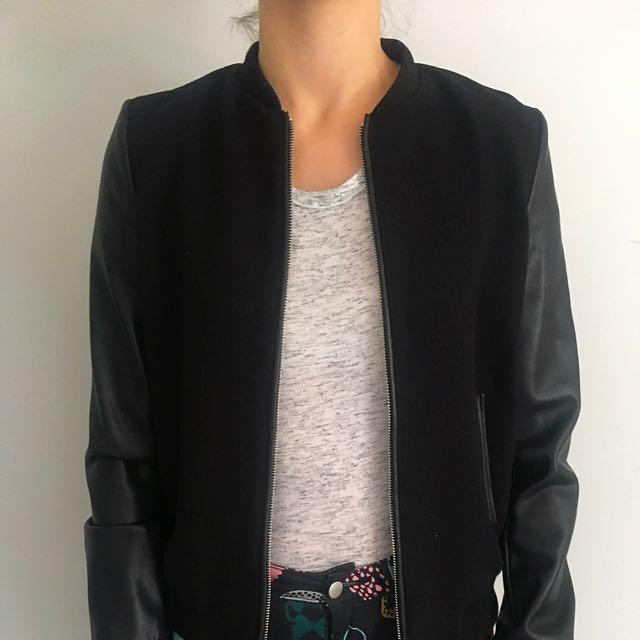 Zara Black Bomber Jacket