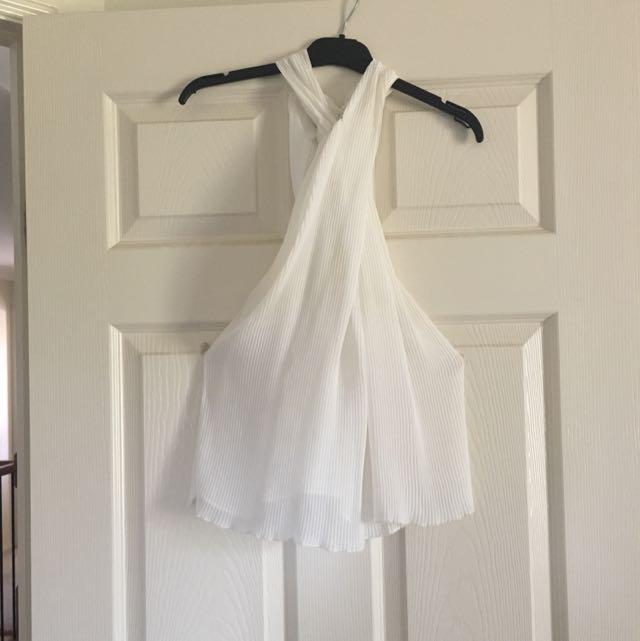 Zara Pleated Halterneck Top Size M