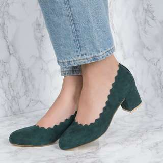 NAKD Green Scalloped Edge High Heel