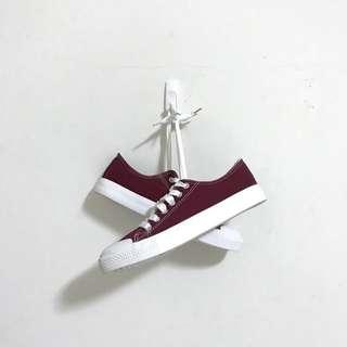 韓版帆布鞋 酒紅色