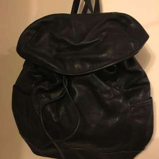 Zara Black Leather Backpack