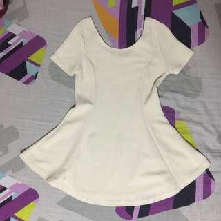 RESERVED Off-white Peplum Top/Dress w Back Ribbon
