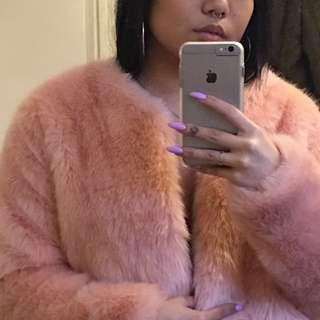 Vintage Pink Faux Fur Jacket