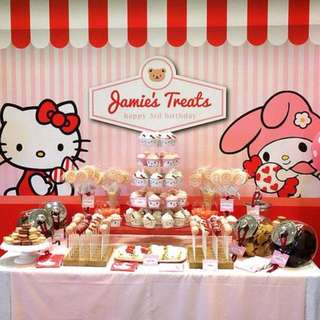SANRIO HELLO KITTY Themed Birthday Party (Party Supplies) Pls CHAT with us for the detailed/specific product listing & price.. We Have wide range of stocks pre printed & personalized printables...