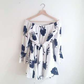 Off The Shoulder Floral White and Navy Blue Dress