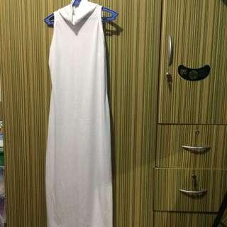 High Neck Striped White Dress