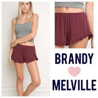 Red Brandy Melville Ruffle Shorts