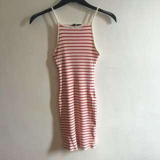 Red-white Striped Halter Bodycon Dress
