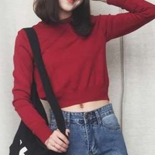 Knitted Long Sleeve Crop Top