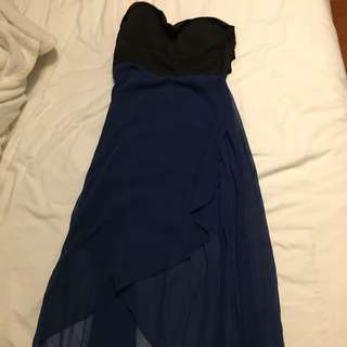 Flowy Black And navy Dress With Cut Out Back