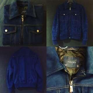Zara Men Basic Velvet Denim Jacket 深藍S號 夾克