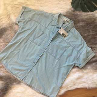 BNWT Topshop Button Up Denim Tee Size 14