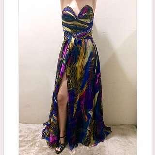 Long dress bunga pesta