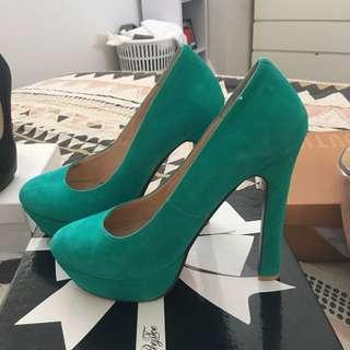 Emerald Green Peeptoe Heels