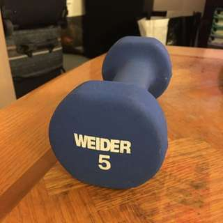 WEIDER SINGLE 5 POUND WEIGHT DUMBBELL