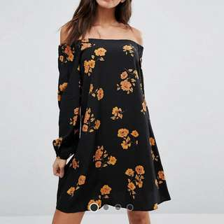 Asos Long Sleeve Off Shoulder Dress