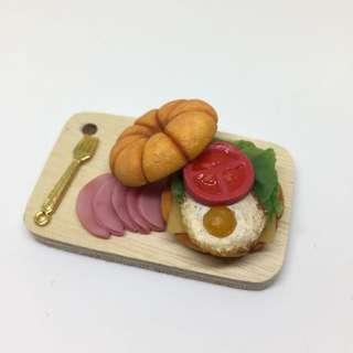 輕食盤 漢堡 貝果 黏土 道具 模型 吊飾