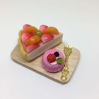 甜點盤 點心 黏土 派 草莓 馬卡龍 道具 模型 吊飾
