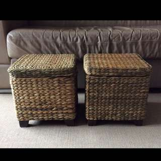 Woven Straw Stool With Storage Compartment