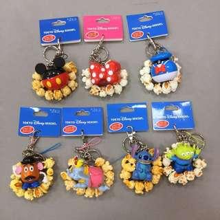 東京迪士尼 米奇、米妮、唐老鴨、蛋頭、小飛象、史迪奇、三眼怪 爆米花桶 吊飾